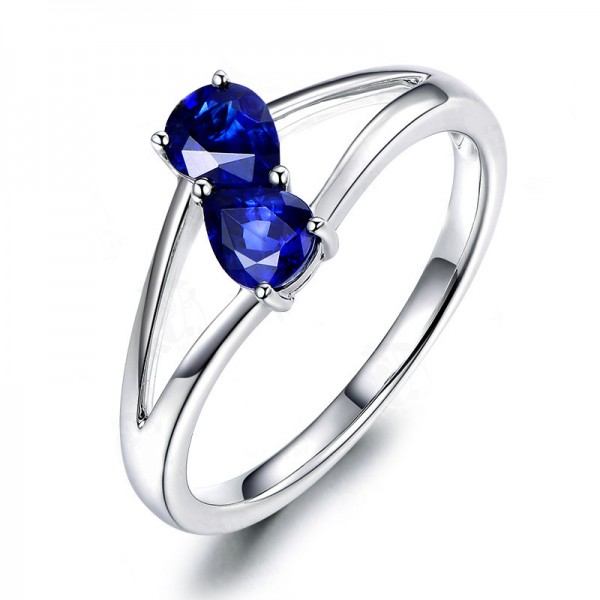 Simple Two Blue Stone Sterling Silver Promise Ring