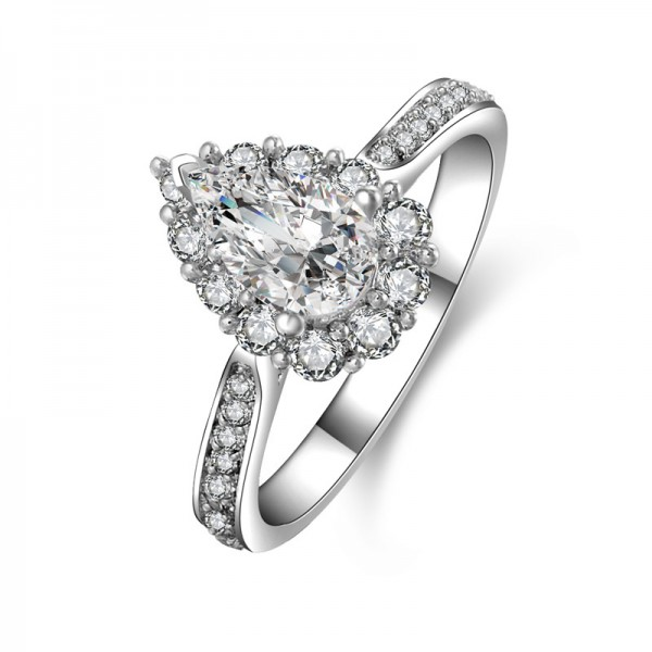Pear 925 Sterling Silver SONA Diamond Wedding/Promise Ring