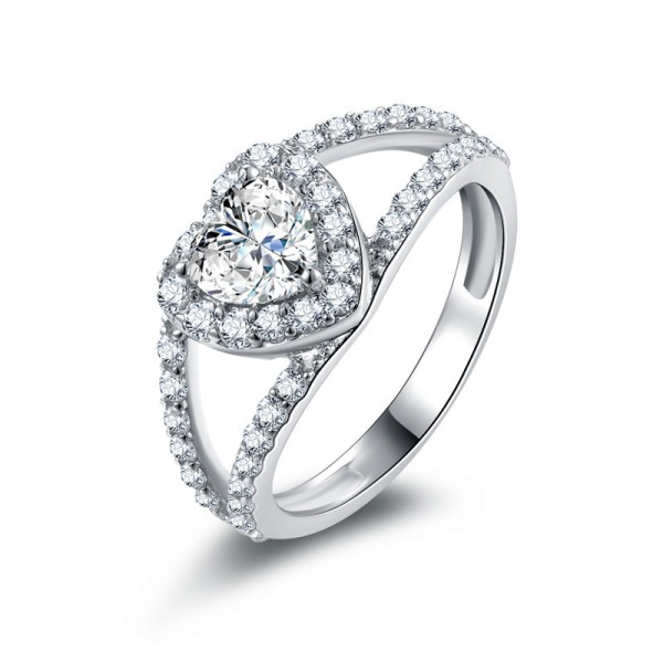 925 Sterling Silver Fashion Heart Wedding/Promise Ring