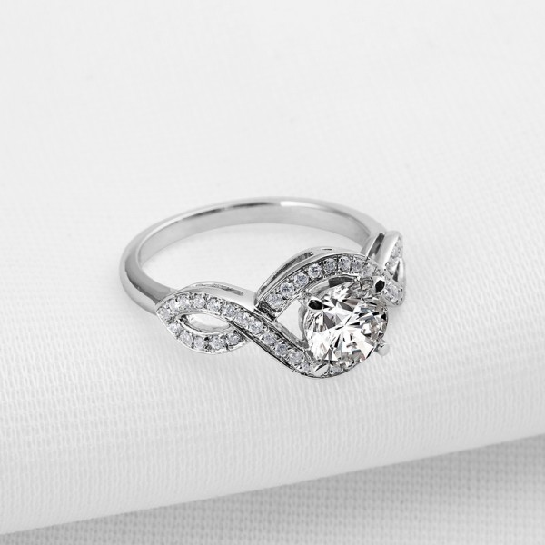 Spiral Fashion 925 Sterling Silver Love Wedding/Promise Ring