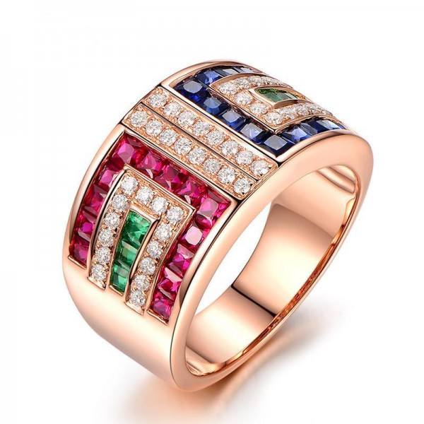Multi Colors Micro-inlay Diamonds Rose Gold 925 Sterling Silver Promise Ring