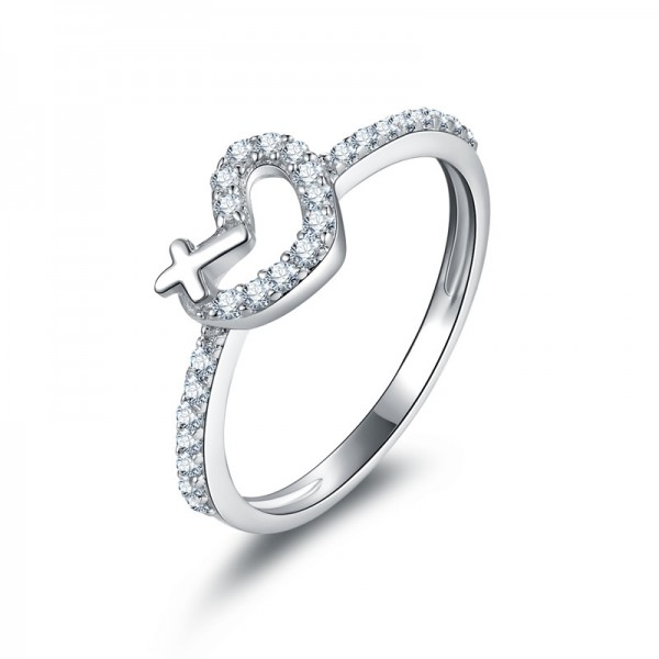 Personalized Heart SONA Diamond 925 Sterling Silver Wedding/Promise Ring