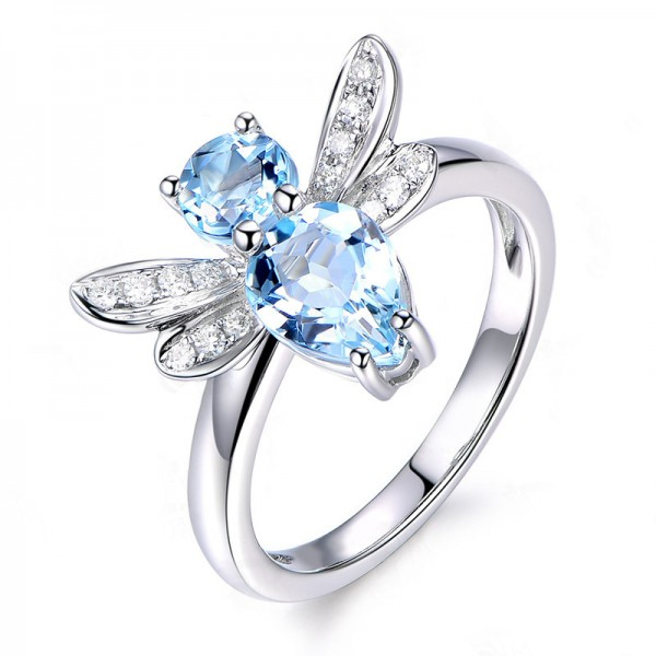 Topaz Blue Diamond 925 Sterling Silver Wedding/Promise Ring