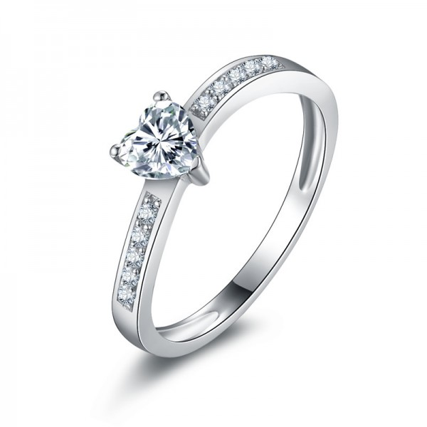 Classic Heart Bending Simple SONA Diamond 925 Sterling Silver Wedding/Promise Ring