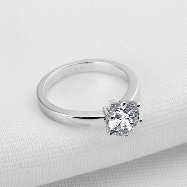 1.0ct Round Classic SONA Diamond 925 Sterling Silver Wedding/Promise Ring