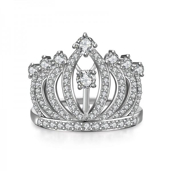 Personalized High Grade Korean Fashion 925 Sterling Silver Crown Ring