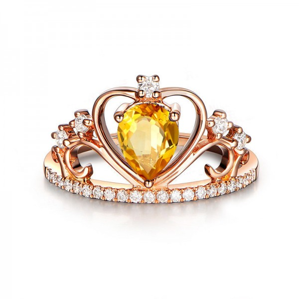 Rose Gold Yellow Crystal 925 Sterling Silver Wedding/Promise Ring