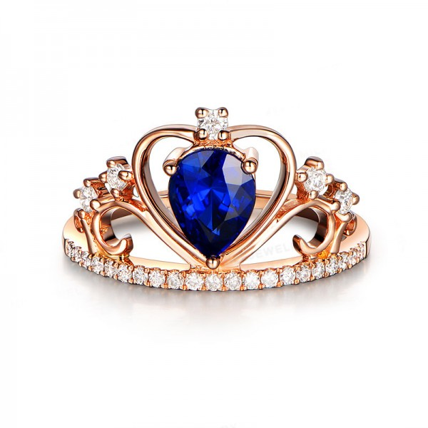 Rose Gold Blue Crystal 925 Sterling Silver Wedding/Promise Ring