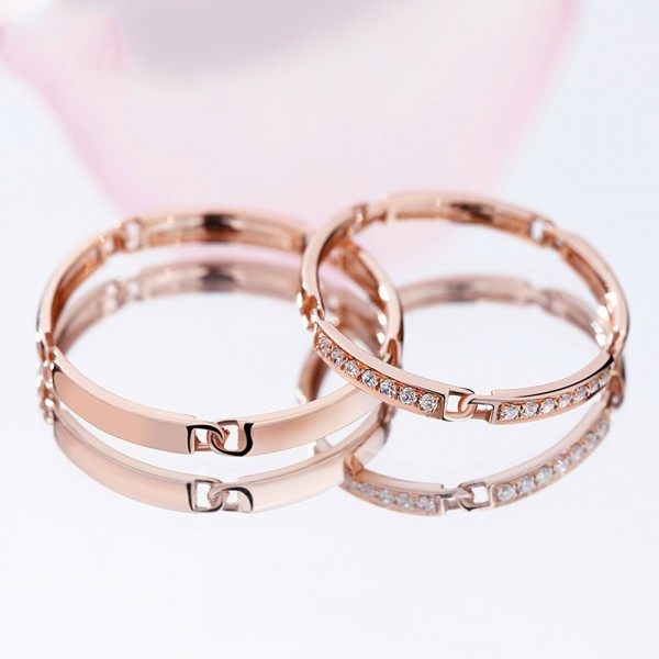 18K Rose Gold and Platinum Ring For Couples Inlaid Cubic Zirconia Unique Design Vogue and Luxury Style