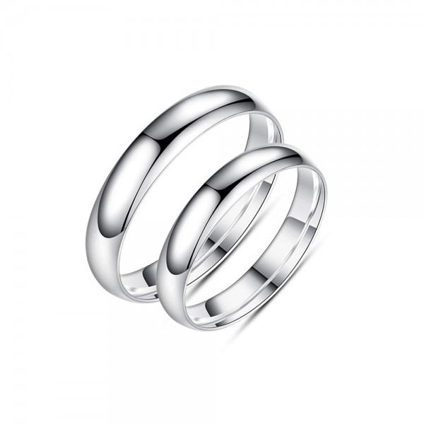 999 Silver Ring For Couples Simple and Fashion Style Inner Arc Design