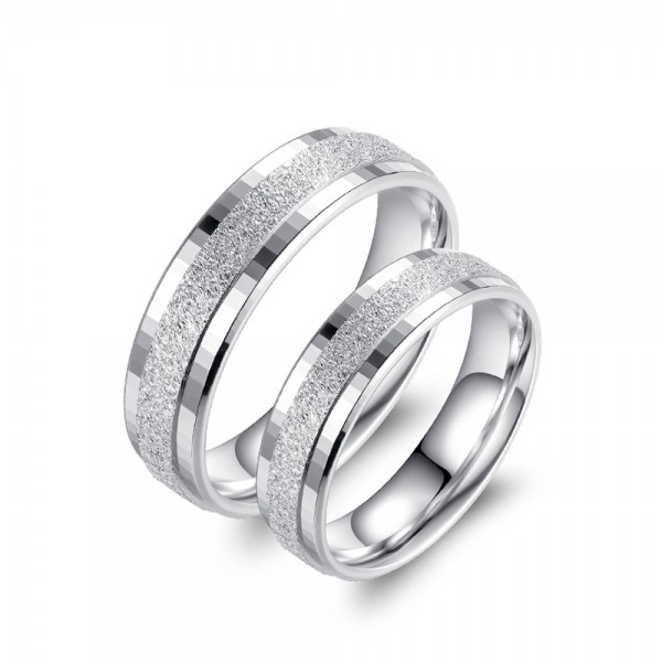 925 Silver Ring For Couples Simple and Fashion Style Dull Polish Craft