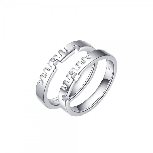 Sterling Silver Ring For Couples Inlaid Cubic Zirconia Unique Design Plating 8K Gold and Platinum