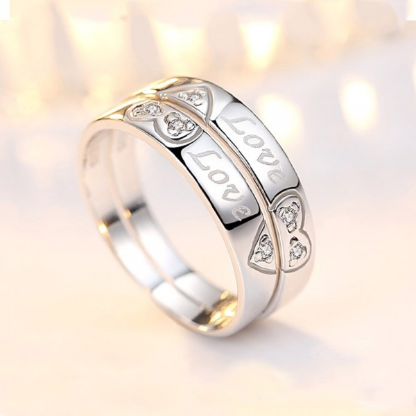 925 Silver Ring For Couples Inlaid Cubic Zirconia Heart-shaped Pattern Love Engraving