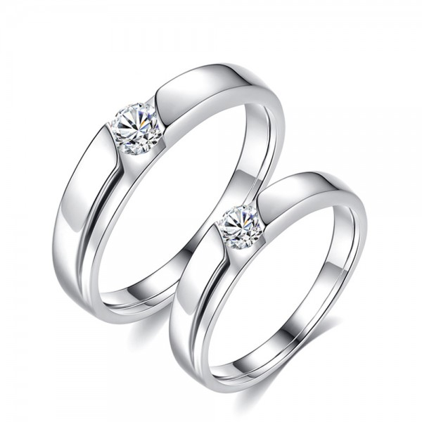 925 Silver Ring For Couples Inlaid Cubic Zirconia Simple and Fashion Style Eletropalting Platinum
