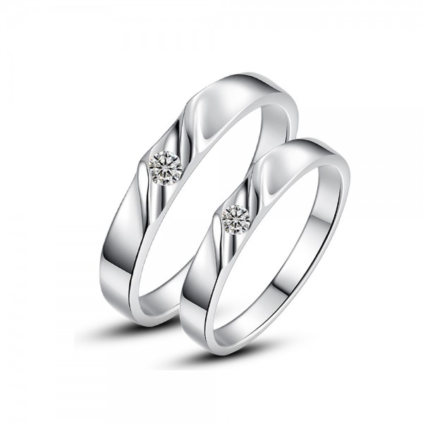 925 Silver Ring For Couples Inlaid Cubic Zirconia Simple and Fashion Style Polish Craft
