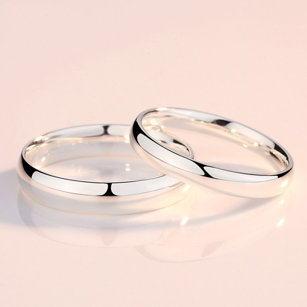 999 Sterling Silver Ring For Couples Simple and Fashion Style Polish Craft