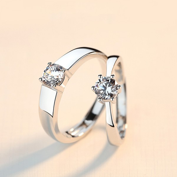 925 Silver Ring For Couples Opening Lap Design Inlaid Cubic Zirconia Simple and Luxury Style
