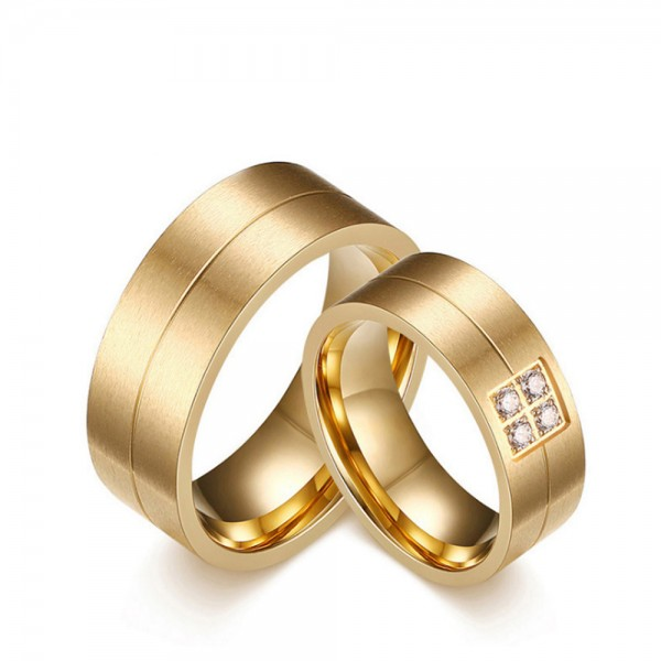 Stainless Steel Golden Ring For Couples Gold-plating Inlaid Cubic Zirconia Simple and Fashion Style Matte Surface