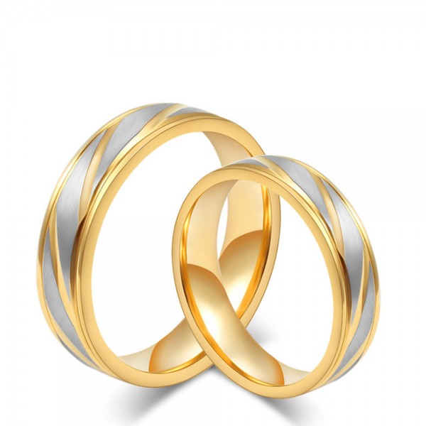 Titanium Silvery and Golden Ring For Couples Diagonal Pattern Luxury and Fashion Style