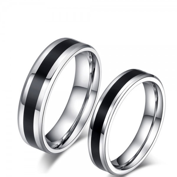 Titanium Black Ring For Couples Simple and Fashion Style Polish Craft