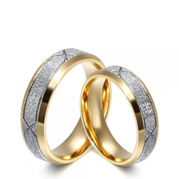 Stainless Steel Silvery and Golden Ring For Couples Inlaid Cubic Zirconia Liberality and Vogue Style