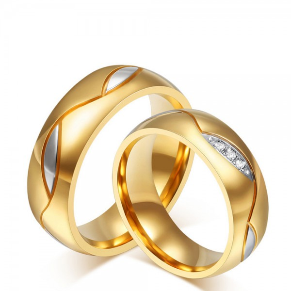 Titanium Golden Ring For Couples Inlaid Cubic Zirconia Gold-plating Luxury and Fashion Style