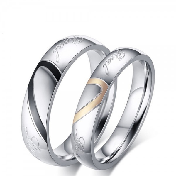 Titanium Silvery Ring For Couples Heart Pattern Simple and Fashion Style Love Engraved