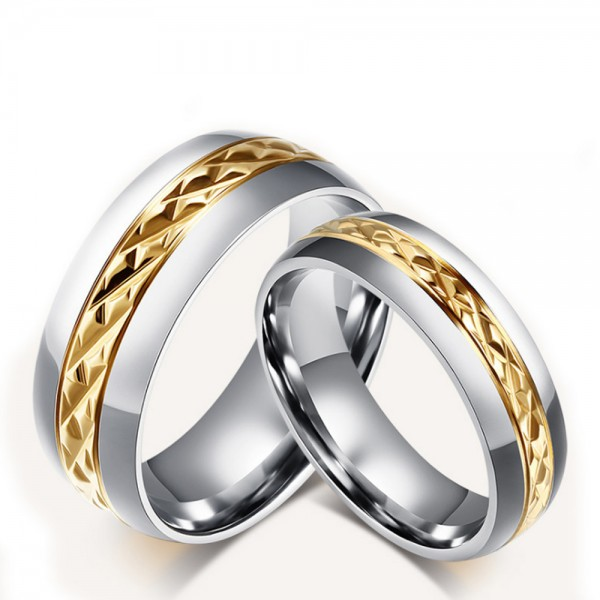 Titanim Silvery Ring For Couples Gold-plating Weaving Pattern Luxury and Fashion