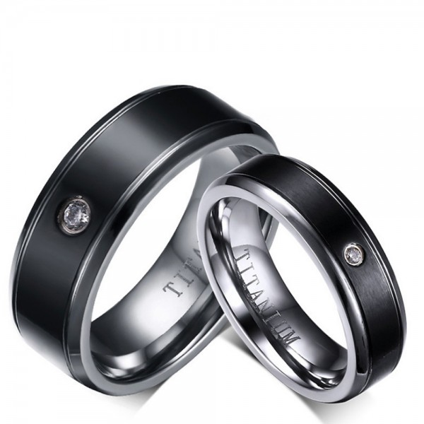 Titanium Black Ring For Couples Simple and Fashion Inner Arc Design Comfortable to Wear