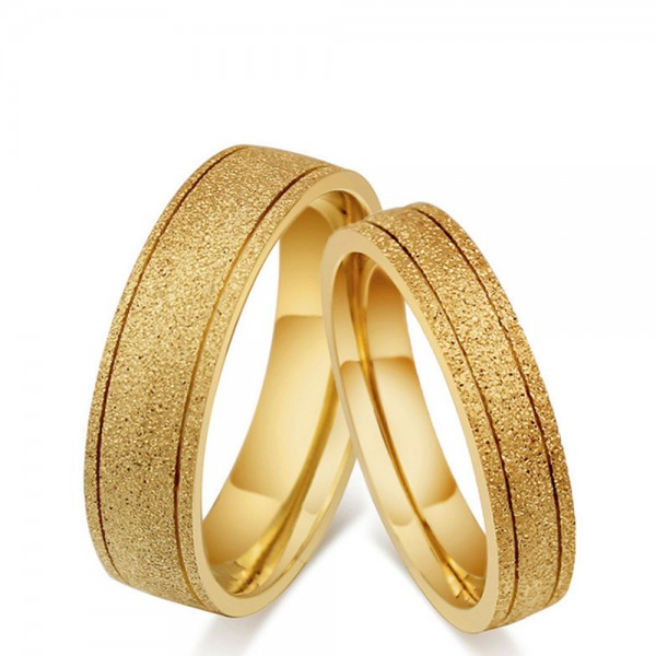 Titanium Golden Ring For Couples Luxury and Fashion Fluted Craft