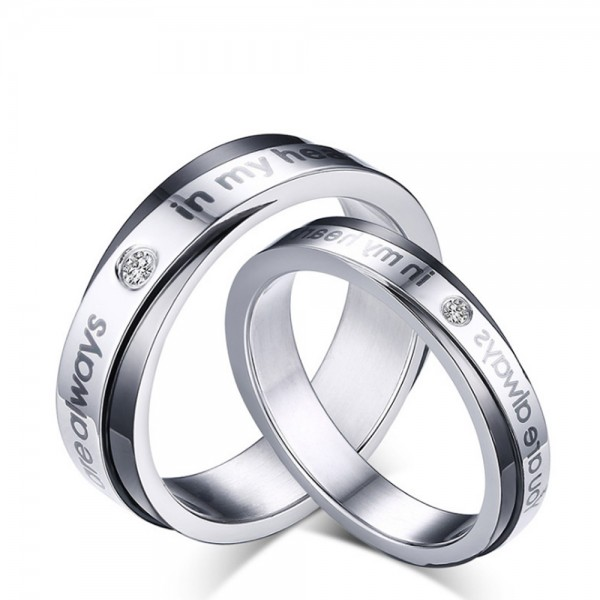 Titanium Silvery and Black Ring For Couples Inlaid Cubic Zirconia Youre Always In My Heart Engraved