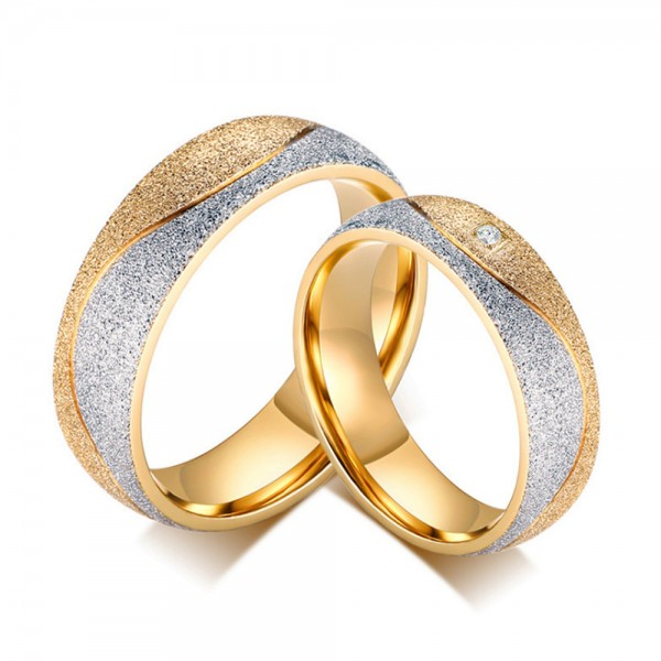 Titanium Silvery and Golden Ring For Couples Inlaid Cubic Zirconia Luxury and Vogue