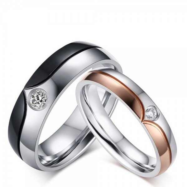 Stainless Steel Silvery Ring For Couples Inlaid Cubic Zirconia Simple and Liberality Black and Rose Gold-plating