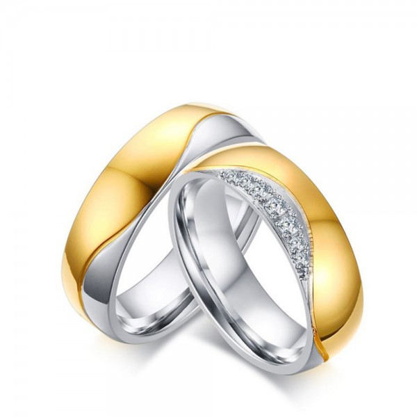 Titanium Ring For Couples Gold-plating Inlaid Cubic Zirconia Liberality and Fashion Polish Craft