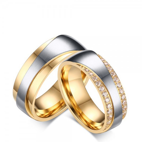 Stainless Steel Silvery Ring For Couples Inlaid Cubic Zirconia Gold-plating Craft Luxury and Liberality