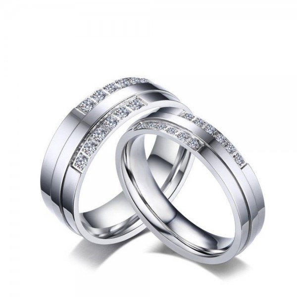 Stainless Steel Silvery Ring For Couples Inlaid Cubic Zirconia Simple and Unique Design
