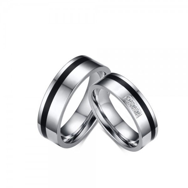 Titanium Silvery Ring For Couples Inlaid Cubic Zirconia Simple and Fashion