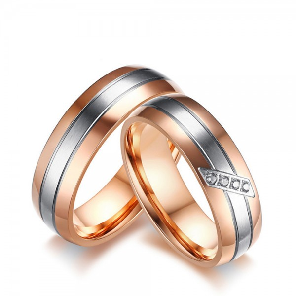 Titanium Silvery and Rose Gold Ring For Couples Inlaid Cubic Zirconia Luxury and Fashion
