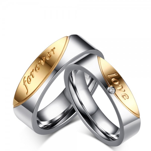 Titanium Silvery Ring For Couples Inlaid Cubic Zirconia Gold-plating Simple and Fashion Forever Love Engraved