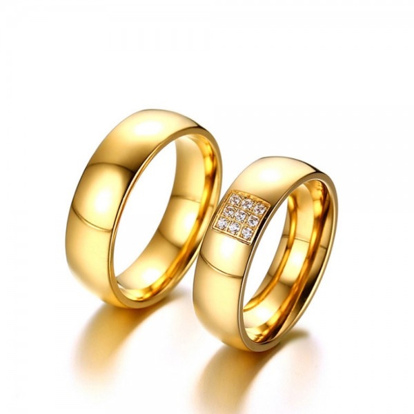 Stainless Steel Golden Ring For Couples Inlaid Cubic Zirconia Luxury and Fashion Polish Craft