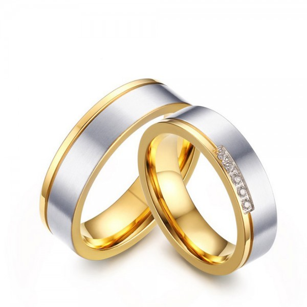 Stainless Steel Silvery and Golden Ring For Couples Inlaid Cubic Zirconia Simple and Fashion Brushing Craft