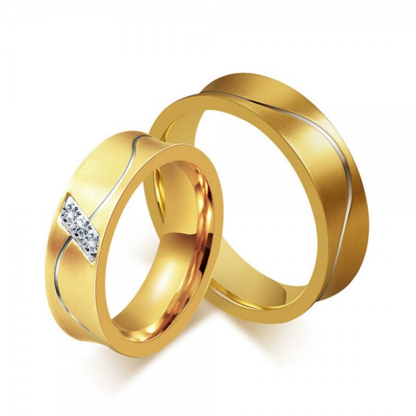 Titanium Golden Ring For Couples Inlaid Cubic Zirconia Fluted Craft Luxury and Fashion Inner Arc