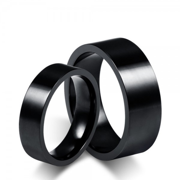 Titanium Black Ring For Couples Simple and Cool Polish Surface