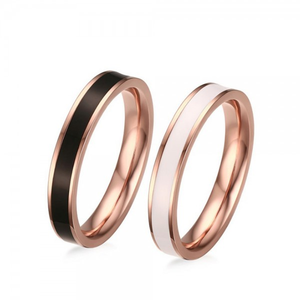 Stainless Steel Rose Gold Ring For Couples Dripping Gel Craft Simple and Fashion