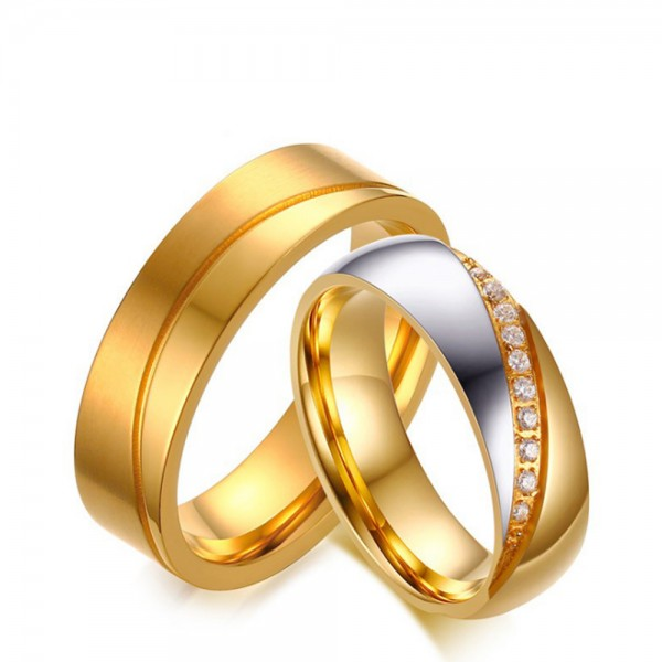 Stainless Steel Golden Ring For Couples Inlaid Cubic Zirconia Fluted Craft Luxury and Exquisite