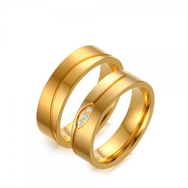 Stainless Steel Golden Ring For Couples Inlaid Cubic Zirconia Luxury  Liberality and Beautiful Fluted Craft