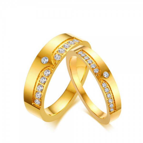 Stainless Steel Golden Ring For Couples Luxury and Liberality Inlaid Cubic Zirconia Crown Design