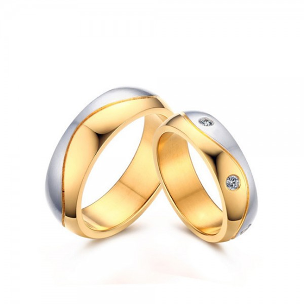 Stainless Steel Silvery and Golden Ring For Couples Simple and Luxury Inlaid Cubic Zirconia Fluted Stripe Design