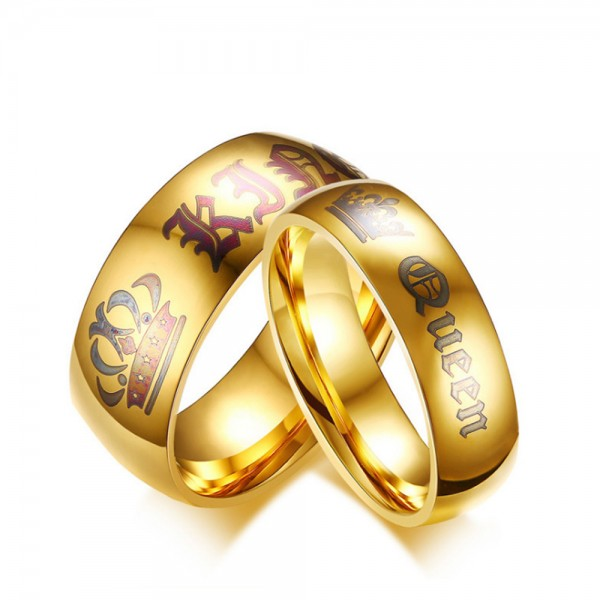 Stainless Steel Golden Ring For Couples King and Queen Engraved Punk and Fashion Style Crown Pattern