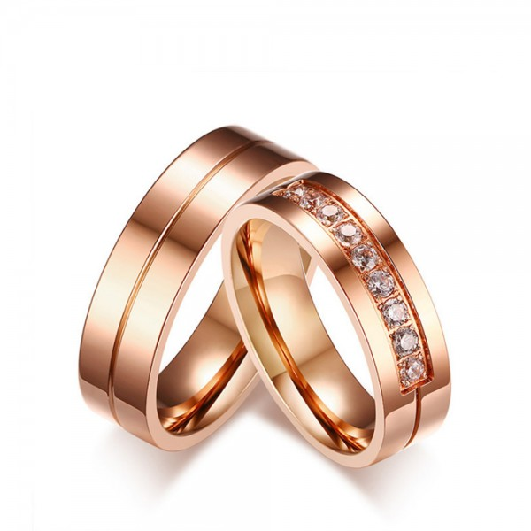 Titanium Rose Gold Ring For Couples Inlaid Cubic Zirconia Luxury and Simple Fluted Craft